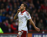 Sheffield United's Billy Sharp gestures to chanting Bradford fans - Sheffield United vs Bradford City - Skybet League One - Bramall Lane - Sheffield - 28/12/2015 Pic Philip Oldham/SportImage