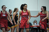 Canterbury's Laken Wairau celebrates her (near) buzzer-beater during the 2018 Women's Basketball League match between Canterbury Wildcats and Taranaki Thunder at Cowles Stadium in Christchurch, New Zealand on Sunday, 24 June 2018. Photo: Dave Lintott / lintottphoto.co.nz