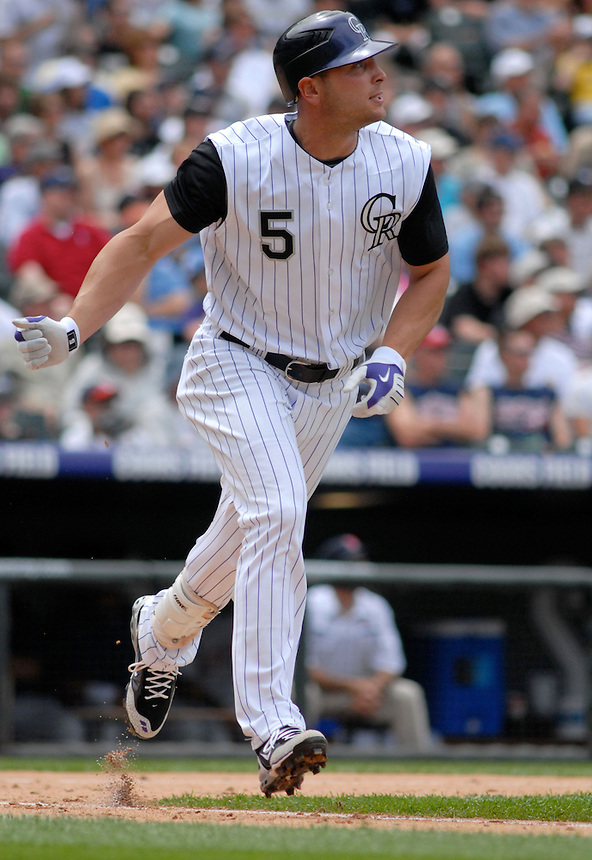 Colorado Rockies outfielder Matt Holliday during an interleague game against the Minnesota Twins at Coors Field on May 18, 2008.