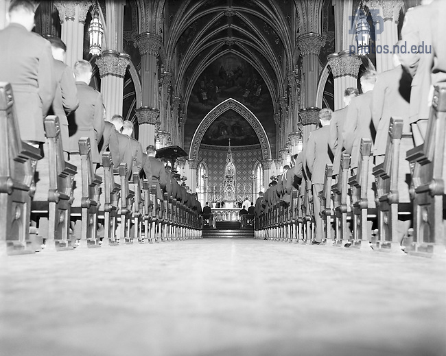 GPHR 45/2796:  Military Memorial Mass in the Basilica of the Sacred Heart, c1956..Image from the University of Notre Dame Archives.