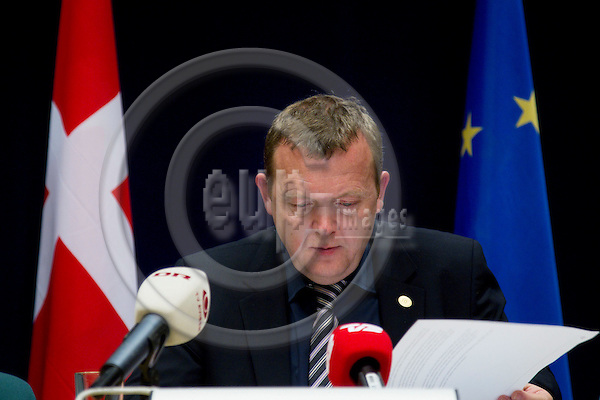 BRUSSELS - BELGIUM - 25 MARCH 2010 -- EU-Summit -- The Danish Prime Minister Lars Loekke Rasmussen at his midnight briefing after the first days summit meeting. PHOTO: ERIK LUNTANG / EUP-IMAGES