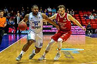 GRONINGEN - Basketbal, Donar - Feyenoord, Dutch Basketball League, seizoen 2018-2019, 16-02-2019, Donar speler Lance Jeter met Feyenoord speler Ties Theeuwkens
