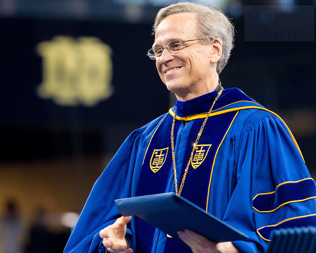 May 16, 2015; President Rev. John Jenkins, C.S.C. at the Graduate School Commencement ceremony. (Photo by Matt Cashore/University of Notre Dame)