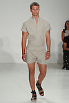 "Model walks runway in an outfit from the Cadet Spring Summer 2017 ""Roman Legion"" menswear collection by Raul Arevalo and Brad Schmidt on July 12 2016, at Skylight Clarkson Square, during New York Fashion Week: Men's Spring Summer 2017."