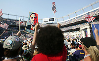 8/28/08 4:23:49 PM -- Denver, CO, U.S.A. -- Democratic National Convention Day four at Invesco Field -- .Fans cheer during Thursday's DNC at Invesco Field, in Denver, CO...Photo by Pat Shannahan, USA TODAY staff.