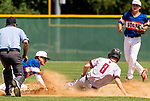 WATERBURY,  CT-072519JS13--South Troy's Patrick Walters (8) is called safe at second base after the ball popped out of the glove of Wolcott's Cameron Maldonado (3) during their Mickey Mantle World Series game Thursday at Municipal Stadium in Waterbury. <br />  Jim Shannon Republican-American