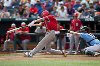 North Carolina State shortstop Trea Turner (8) swings the bat during Game 3 of the 2013 Men's College World Series between the North Carolina State Wolfpack and North Carolina Tar Heels at TD Ameritrade Park on June 16, 2013 in Omaha, Nebraska. The Wolfpack defeated the Tar Heels 8-1. (Andrew Woolley/Four Seam Images)