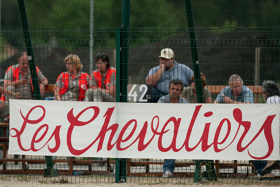22 May 2009: Banner of Les Chevaliers is seen during the 2009 challenge de France, a tournament with the best French baseball teams - all eight elite league clubs - to determine a spot in the European Cup next year, at Montpellier, France.