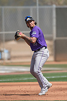 Colorado Rockies third baseman Colton Welker (4) during a Minor League Spring Training game against the Milwaukee Brewers at Salt River Fields at Talking Stick on March 17, 2018 in Scottsdale, Arizona. (Zachary Lucy/Four Seam Images)