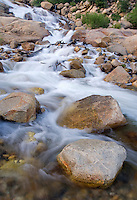 A stream rushes down an Alluvial Fan  in the Big Thompson River wash out zone, Rocky Mountain National Park, Colorado
