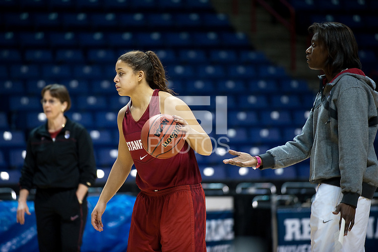 SPOKANE, WA - MARCH 27, 2011: Grace Mashore during the off-day pratice session, Stanford Women's Basketball, NCAA West Regionals on March 27, 2011.