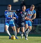 06.10.18 Dundee v Kilmarnock: Kenny Miller with Scott Boyd and Kenny Miller