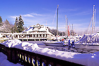 "Stanley Park, Vancouver, BC, British Columbia, Canada, Winter - Vancouver Rowing Club and Marina in ""Coal Harbour"" from Stanley Park Seawall"