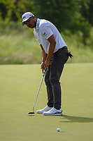 Sebastian Munoz (COL) barely misses his putt on 14 during the round 1 of the AT&T Byron Nelson, Trinity Forest Golf Club, Dallas, Texas, USA. 5/9/2019.<br /> Picture: Golffile | Ken Murray<br /> <br /> <br /> All photo usage must carry mandatory copyright credit (© Golffile | Ken Murray)