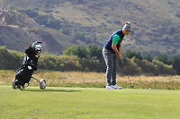 Conor Purcell from Ireland on the 4th green during Round 2 Singles of the Men's Home Internationals 2018 at Conwy Golf Club, Conwy, Wales on Thursday 13th September 2018.<br /> Picture: Thos Caffrey / Golffile<br /> <br /> All photo usage must carry mandatory copyright credit (&copy; Golffile | Thos Caffrey)