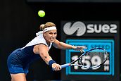 9th January 2018, Sydney Olympic Park Tennis Centre, Sydney, Australia; Sydney International Tennis, round 1; Dominika Cibulkova (SVK) return serve in her match against Elena Vesnina (RUS)