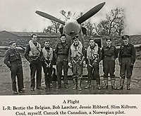 BNPS.co.uk (01202 558833)<br /> Pic: AllanScott/BNPS<br /> <br /> 'A Flight' in Britain before deploying to Malta - Allan is 3rd right.<br /> <br /> As Rememberance Day approches the last surviving Spitfire ace of the almost forgotten Siege of Malta has spoken about the ferocious battle over 'the most bombed place on earth' during WW2 on the 77th anniversary of the Allies' remarkable victory.<br /> <br /> Squadron Leader Allan Scott was awarded a prestigious Distinguished Flying Medal after shooting down five enemy aircraft, and claiming eight other probable kills, while defending the beleaguered British colony.<br /> <br /> Between June 1940 and November 1942, the tiny island was 'the most bombed place on earth'. It was subjected to 3,000 bombing raids, during which the German Luftwaffe and Italian fighters dropped 6,700 tons of bombs on the Grand Harbour area alone to destroy RAF defences and the ports.<br /> <br /> Over the course of the battle, 2,300 Allied airmen were killed or wounded, but their sterling efforts saved the 'flattened' island from defeat.