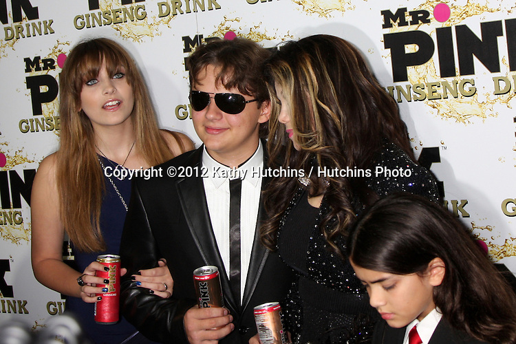 "LOS ANGELES - OCT 11:  Paris Jackson, Prince Michael Jackson, LaToya Jackson, Blanket Jackson arrives at the ""Mr. Pink"" Energy Drink Launch at Beverly Wilshire Hotel on October 11, 2012 in Beverly Hills, CA"