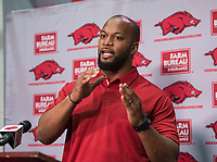 NWA Democrat-Gazette/BEN GOFF @NWABENGOFF<br /> Trumain Carroll, Arkansas head strength and conditioning coach, speaks Wednesday, Jan. 10, 2018, during a press conference to introduce new assistant coaches at the Fred W. Smith Football Center in Fayetteville.