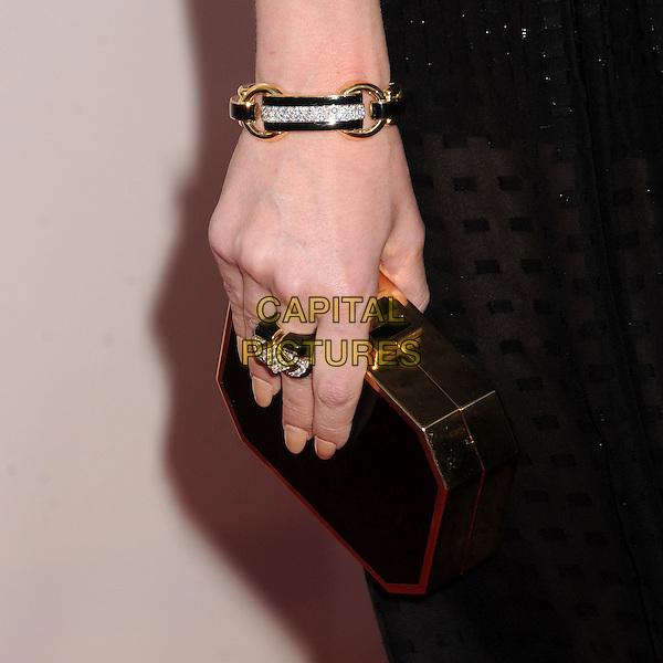 Jaime King's bag .18th Annual Critics' Choice Movie Awards - Arrivals held at Barker Hangar, Santa Monica, California, USA, .10th January 2013 .detail gold bracelet ring clutch accessories jewelry jewellery .CAP/ADM/BP.©Byron Purvis/AdMedia/Capital Pictures.
