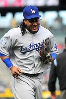 14 September 08: Los Angeles Dodgers outfielder Manny Ramirez during a game against the Colorado Rockies. The Colorado Rockies defeated the Dodgers 1-0 in 10 innings at Coors Field in Denver, Colorado. FOR EDITORIAL USE ONLY