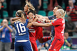 Olympique Lyonnais's Sarah Bouhaddi (l), Saki Kumagai (c) Pauline Bremer celebrate the victory in the UEFA Women's Champions League 2015/2016 Final match.May 26,2016. (ALTERPHOTOS/Acero)