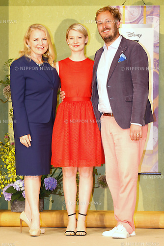 "(L-R) Producer Suzanne Todd, actress Mia Wasikowska and director James Bobin attend the press conference for the film ""Alice Through the Looking Glass"" in Tokyo, Japan on June 20, 2016. (Photo by Sho Tamura/AFLO)"