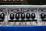 The row of seats for substitutes are adorned with appropriate UEFA branding as Hertha Berlin take on Sporting Lisbon in the Olympic Stadium in Berlin in a UEFA Europa League group match. Hertha won the match by 1 goal to nil to press to the knock-out round of the cup. 2009/10 was the the first year in which the Europa League replaced the UEFA Cup in European football competition.