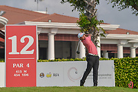 Lucius TOH (SIN) watches his tee shot on 12 during Rd 2 of the Asia-Pacific Amateur Championship, Sentosa Golf Club, Singapore. 10/5/2018.<br /> Picture: Golffile | Ken Murray<br /> <br /> <br /> All photo usage must carry mandatory copyright credit (© Golffile | Ken Murray)