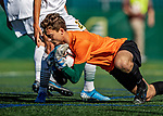 5 October 2019: University of Vermont Catamount Goalkeeper Aron Runarsson, a Senior from Akureyri, Iceland, makes a save in the first half against the University at Albany Great Danes, on Virtue Field in Burlington, Vermont. The Catamounts fell to the visiting Danes 3-1 in America East, Division 1 play. Mandatory Credit: Ed Wolfstein Photo *** RAW (NEF) Image File Available ***