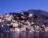 Greece. Dodecanese Islands. Symi. Neo classical houses. Symi town harbor. Gialos.
