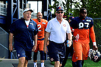 Wednesday, August 17, 2016: New England Patriots head coach Bill Belichick (left) and Chicago Bears head coach John Fox (right) walks to the practice field at a joint training camp session between the Chicago Bears and the New England Patriots held at Gillette Stadium in Foxborough Massachusetts. Eric Canha/CSM