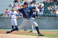 Mobile BayBears Charles Brewer #35 delivers a pitch during a game against the Tennessee Smokies at Smokies Park in Kodak,  Tennessee;  May 22, 2011.  The Smokies won the game 4-2.  Photo By Tony Farlow/Four Seam Images