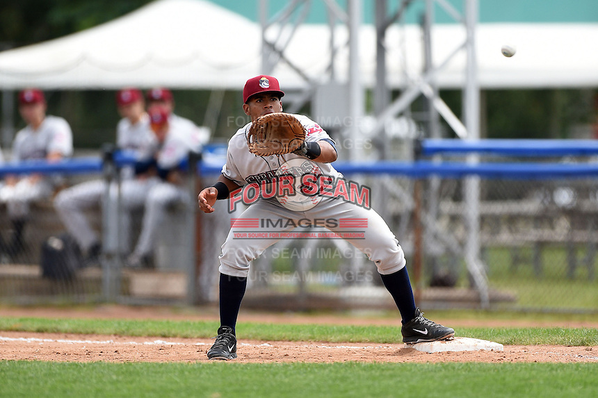 Mahoning Valley Scrappers catcher Juan De La Cruz (24) waits for a throw during a game against the Jamestown Jammers on June 16, 2014 at Russell Diethrick Park in Jamestown, New York.  Mahoning Valley defeated Jamestown 2-1.  (Mike Janes/Four Seam Images)