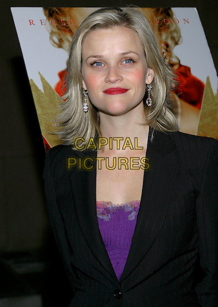 REESE WITHERSPOON.American Cinematheque Q & A held at the Egyptian Theatre, Hollywood, California, USA,.03 December 2004..half length black suit jacket pinstripe purple top red lipstick.**UK SALES ONLY**.Ref: ADM.www.capitalpictures.com.sales@capitalpictures.com.©J.Wong/AdMedia/Capital Pictures .