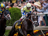 BALTIMORE, MD - MAY 20:  John Velazquez guides Always Dreaming #4 to the lead going into the first turn to the Preakness Stakes at Pimlico Race Course on May 20, 2017 in Baltimore, Maryland. (Photo by Alex Evers/Eclipse Sportswire/Getty Images)