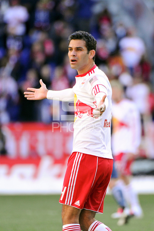 Rafa Marquez (4) of the New York Red Bulls during the 1st leg of the Major League Soccer (MLS) Western Conference Semifinals against the Los Angeles Galaxy at Red Bull Arena in Harrison, NJ, on October 30, 2011.