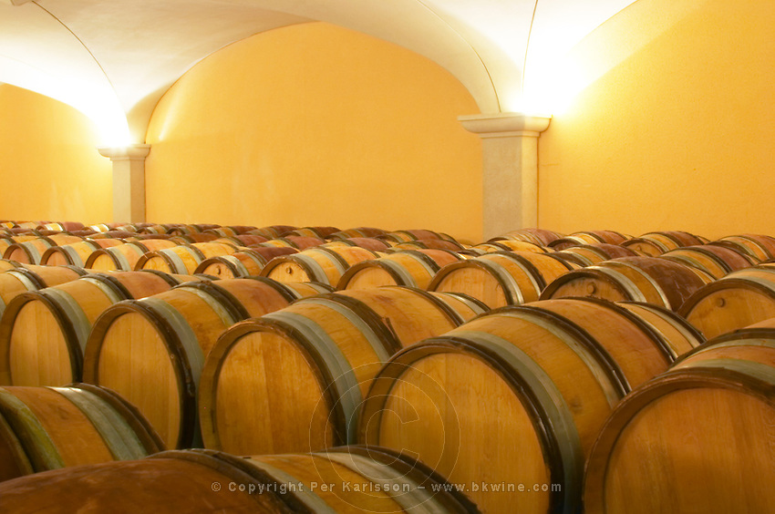 the barrel aging cellars with vaulted ceiling. Domaine Gilles Robin, Les Chassis, Mercurol, Drome, Drôme, France, Europe
