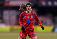 COLUMBUS, OH - NOVEMBER 07: Andi Sullivan #25i of the United States looks for the ball during a game between Sweden and USWNT at Mapfre Stadium on November 07, 2019 in Columbus, Ohio.