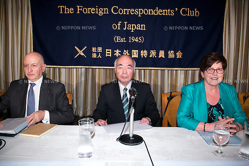 (L to R) Jean-Louis Bancel, Akira Banzai, Dame Pauline Green, February 12, 2015, Tokyo, Japan : (L to R) Jean-Louis Bancel member of the board of the ICA, Akira Banzai President of the Central Union of Agricultural Co-operatives (JA Zenchu) and Dame Pauline Green President of the International Co-operative Alliance (ICA) attend a press conference at the Foreign Correspondents' Club of Japan. Banzai spoke about the organization's position after accept the Japanese Government's farm cooperative structure reform on Monday. Pauline Green and Bancel visited Japan to discuss Japan's agricultural reforms which will be crucial for the Trans-Pacific Partnership (TPP) free trade talks. (Photo by Rodrigo Reyes Marin/AFLO)