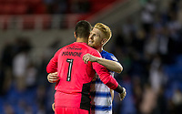Paul McShane of Reading embraces teammates Goalkeeper Vito Mannone of Reading at full time during the Sky Bet Championship match between Reading and Aston Villa at the Madejski Stadium, Reading, England on 15 August 2017. Photo by Andy Rowland / PRiME Media Images.<br /> **EDITORIAL USE ONLY FA Premier League and Football League are subject to DataCo Licence.