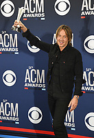 LAS VEGAS, NEVADA - APRIL 07: Entertainer of the Year award winner Keith Urban poses in the press room during the 54th Academy Of Country Music Awards at MGM Grand Hotel &amp; Casino on April 07, 2019 in Las Vegas, Nevada.  <br /> CAP/MPIIS<br /> &copy;MPIIS/Capital Pictures