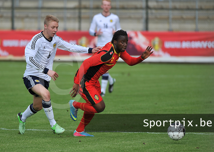 Scotland U19 - Belgium U19 : Jamie Lindsay (left) and Nathan Kabasele (right).foto DAVID CATRY / Nikonpro.be