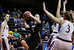 SIOUX FALLS, SD: MARCH 21:  Carolyn Appleby #5 of Indiana (PA) shoots over Ashland defenders during their game at the 2018 Division II Women's Basketball Championship at the Sanford Pentagon in Sioux Falls, S.D. (Photo by Dick Carlson/Inertia)