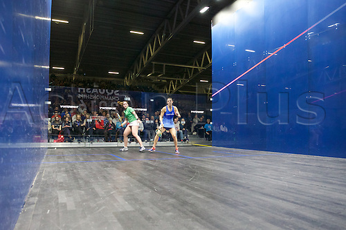 13.02.2016. National Squash Centre, Manchester, England. British National Squash Championships. Laura Massaro and Tesni Evans in their semi final match.