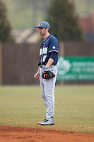 Akron Zips second baseman Billy Salem (17) on defense against the Charlotte 49ers at Hayes Stadium on February 22, 2015 in Charlotte, North Carolina.  The Zips defeated the 49ers 5-4.  (Brian Westerholt/Four Seam Images)