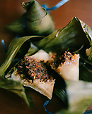 MALAYSIA, Kuala Lumpur, Asia, close-up of Nyonya dumpling wrapped in banana leaf