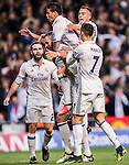 Karim Benzema of Real Madrid celebrates with teammates  during the 2016-17 UEFA Champions League match between Real Madrid and Borussia Dortmund at the Santiago Bernabeu Stadium on 07 December 2016 in Madrid, Spain. Photo by Diego Gonzalez Souto / Power Sport Images