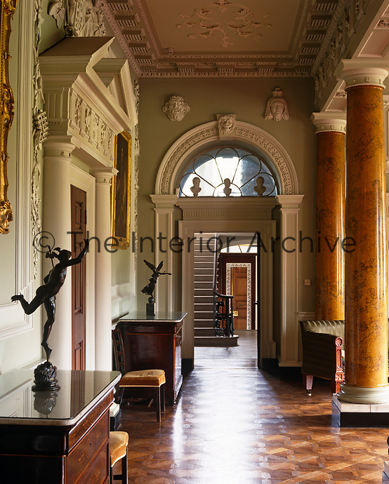 A classical view looking through the hall to the staircase at Castle Ward, National Trust.