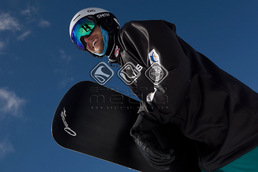 snowboarder Simon Patmore <br /> Australian Paralympic Committee<br /> 2017 Snowboard Cross training camp for <br /> 2018 Pyeongchang South Korea Paralympics<br /> Mount Hotham Ski Resort<br /> VIC / August 22nd - 24th 2017<br /> &copy; Sport the library / Jeff Crow